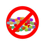 Stop doping. Ban dope. It is forbidden to take stimulants. Cross Stock Image