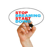 Stop dreaming start doing. Writing  words Stop dreaming start doing on white  background made in 2d software Royalty Free Stock Photo