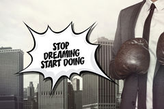 Stop dreaming text on speech bubble Royalty Free Stock Photos