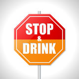 Stop and drink sign. Stop and drink bicolor traffic sign on white Royalty Free Stock Image