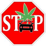Stop Driving High. Do not use any vehicle under the influence of marijuana Royalty Free Stock Image
