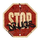 Stop Drugs Sign. Stop Drugs Abuse Sign Grunge Rusted Metal Old Road Red Background Art Logo Graffiti vector illustration