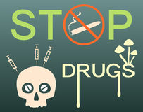 Stop drugs banner Stock Photos