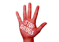 Stop drugs written on a hand Royalty Free Stock Photos