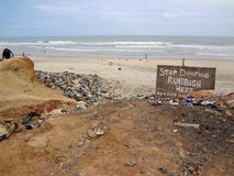Stop Dumping Sign on Ghana Beach Stock Photos