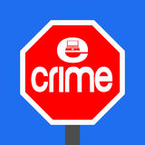 Stop e-crime sign. Stop e-crime with laptop sign illustration Royalty Free Stock Photography