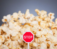 Stop eating popcorn Royalty Free Stock Images