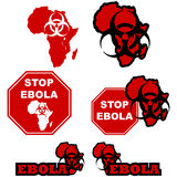 Stop ebola. Concept illustration showing the map of Africa a biohazard sign and stop signs with the message to stop the spread of the ebola virus Stock Image