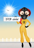 Stop ebola. Illustration of girl with virus ebola sign Stock Photography