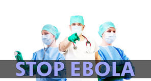 Stop Ebola medical background. With male and female doctor Stock Photo