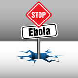 Stop Ebola plate. Abstract colorful illustration with a plate with the text Stop Ebola coming out from an ice crack. Ebola disease concept Stock Photos
