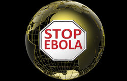Stop Ebola sign above Golden World Globe. 3D render of the World Globe with red stop ebola words placed on a stop sign. The World globe is golden and the globe Royalty Free Stock Images