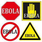Stop EBOLA Signs. Set of warning signs for anti Ebola campaign Royalty Free Stock Images