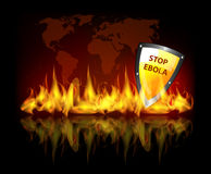 Stop ebola. Virus theme background with world map, fire flames and protection shield Royalty Free Stock Image