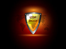 Stop ebola. Virus theme background with world map and protection shield Stock Photo