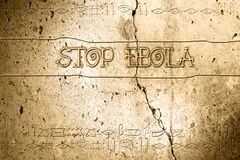 Stop ebola. Word stop ebola on wall with egyptian alphabet made in 2d software Royalty Free Stock Photos