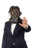 STOP, Ecological disaster. Business woman in gas mask isolated on white background. Eyes on focus, shallow depth of field royalty free stock photos