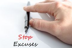 Stop excuses text concept. Isolated over white background Stock Images