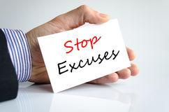 Stop excuses text concept. Isolated over white background Stock Photography