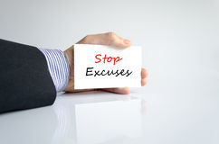 Stop excuses text concept. Isolated over white background Royalty Free Stock Photo