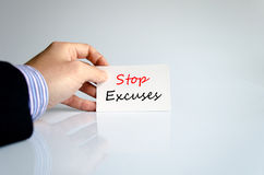 Stop excuses text concept. Isolated over white background Royalty Free Stock Photography