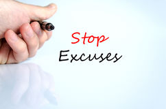 Stop excuses text concept. Isolated over white background Royalty Free Stock Photos