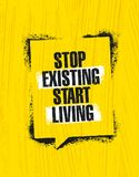 Stop Existing Start Living. Inspiring Creative Motivation Quote Poster Template. Vector Typography Banner Design Concept Royalty Free Stock Images