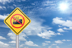 Stop factory industry sign banner and clouds blue sky Stock Photos