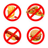Stop fast food. Diet sign. Ban unhealthy food. It is forbidden t Stock Image