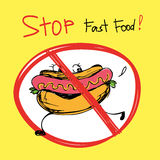 Stop fast food.Hot dog Stock Photography