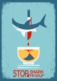 Stop fin soup.Vector poster on old paper texture Stock Images