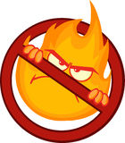 Stop Fire Sign With Angry Burning Flame. Cartoon Mascot Character Royalty Free Stock Image