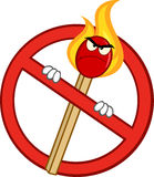 Stop Fire Sign With Angry Burning Match Stick. Cartoon Mascot Character Stock Photos