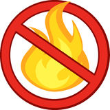 Stop Fire Sign With Burning Flame. Cartoon Character Royalty Free Stock Photo