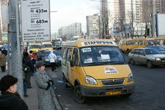 Stop of fixed-route taxis Stock Image