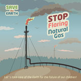 Stop flaring and venting natural gas. Save the Earth. Eco poster Stock Photo