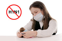 Stop the flu. Girl in protective mask Stock Photos