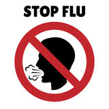 Stop flu sign. Coughing man in prohibition frame Royalty Free Stock Images