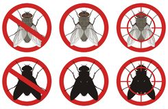 Stop fly signs. Set signs of pest control. Vector illustration. Royalty Free Stock Photos