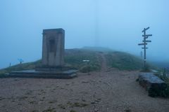 The stop of forgiveness with fog on the road to Santiago. Spain stock image