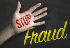 Stop Fraud educacional message on blackboard Stock Image