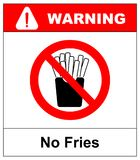 Stop French fries. Ban fatty fast food. Sliced potatoes in paper box. Emblem against eating. Red prohibition sign. Prohibited noxi Stock Photos