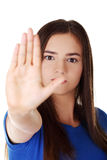 Stop gesture sing with hand Stock Photo