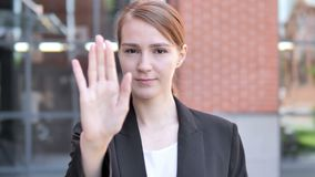 Stop Gesture by Young Businesswoman, Outdoor. 4k high quality, 4k high quality stock footage