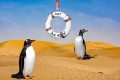 Free Stop Global Warming - Penguin Habitat - Two Penuins In Desert &x28;of Namibia&x29; With Lifebelt Royalty Free Stock Image - 92759176