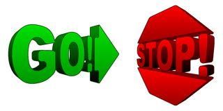 Stop and Go 3D symbols Royalty Free Stock Photos