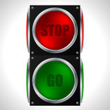 Stop and go sign for racers. Stop and go traffic sign for racers Stock Photos