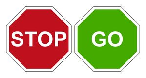 Stop go sign. Vector High quality illustration of stop sign and go sign isolated on white background. Official Vienna convention international color and size royalty free illustration