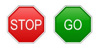 Stop and go signs. Illustration of stop and go signs. Vector available Royalty Free Stock Photos