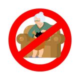 Stop grandmother. Ban old woman and cat. Red prohibitory road si Royalty Free Stock Photos
